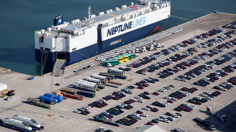 Neptune Lines es el principal operador de la autoterminal del puerto de Koper. Imagen: Port de Barcelona.