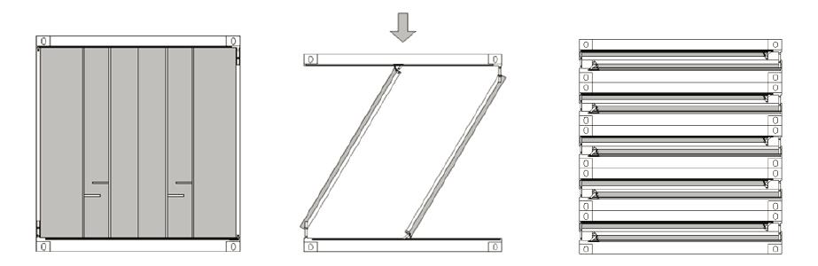 Exemple de Zbox. A més de ser un contenidor plegable, també integra sensors de l'IdC, IA, Big Data i blockchain. (Imatge de Zbox)