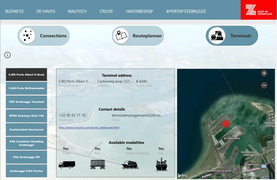 El planificador determina la ruta óptima de entre 16.000 conexiones directas con terminales ofrecidas por 150 proveedores. (Imagen del puerto de Zeebrugge)