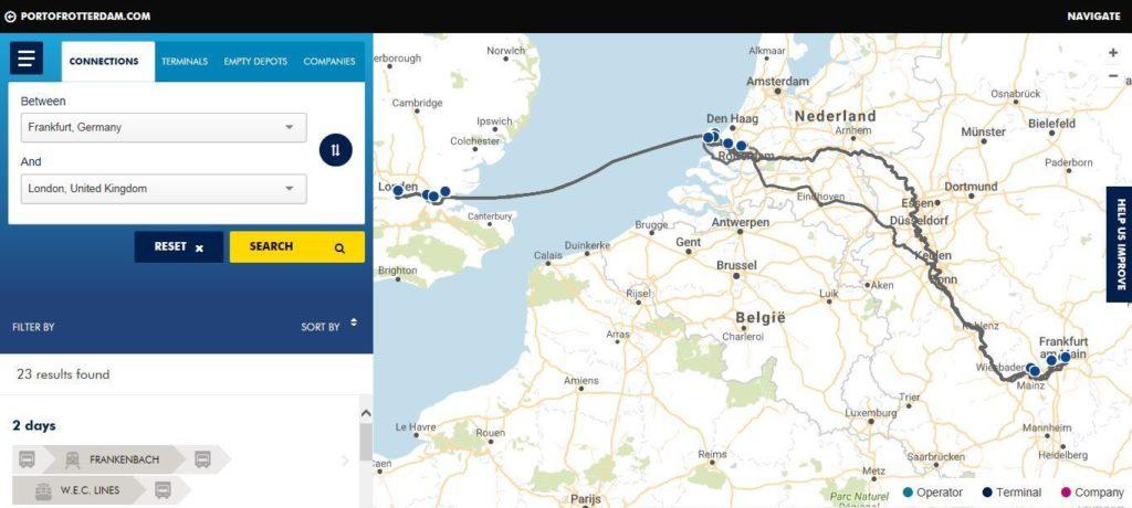 Con esta plataforma basada en la nube, suben al sistema todas las conexiones de transporte marítimo con Rotterdam (Imagen de Navigate del puerto de Rotterdam)