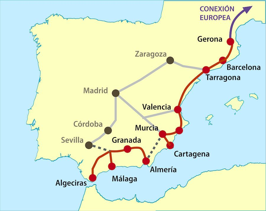 Simplified map showing the route of the Mediterranean Corridor (Wikipedia)