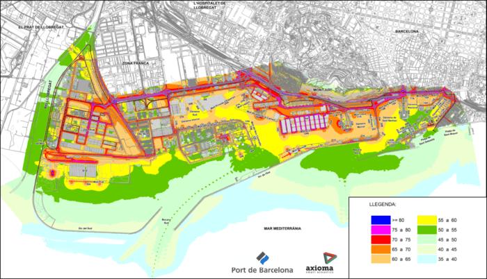 Daytime sound map of the Port of Barcelona. (Port of Barcelona)