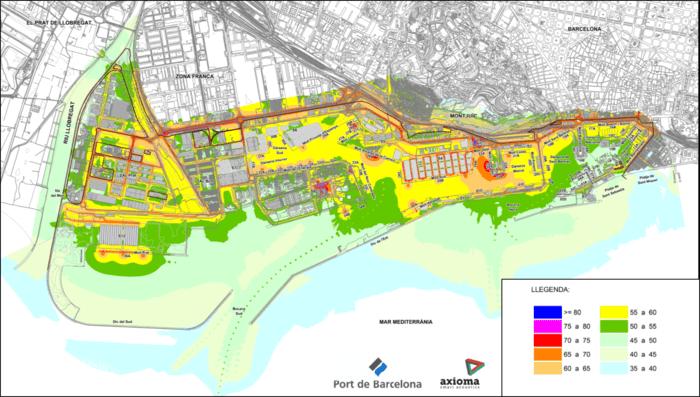 Mapa de sonido nocturno del Port de Barcelona. (Port de Barcelona)