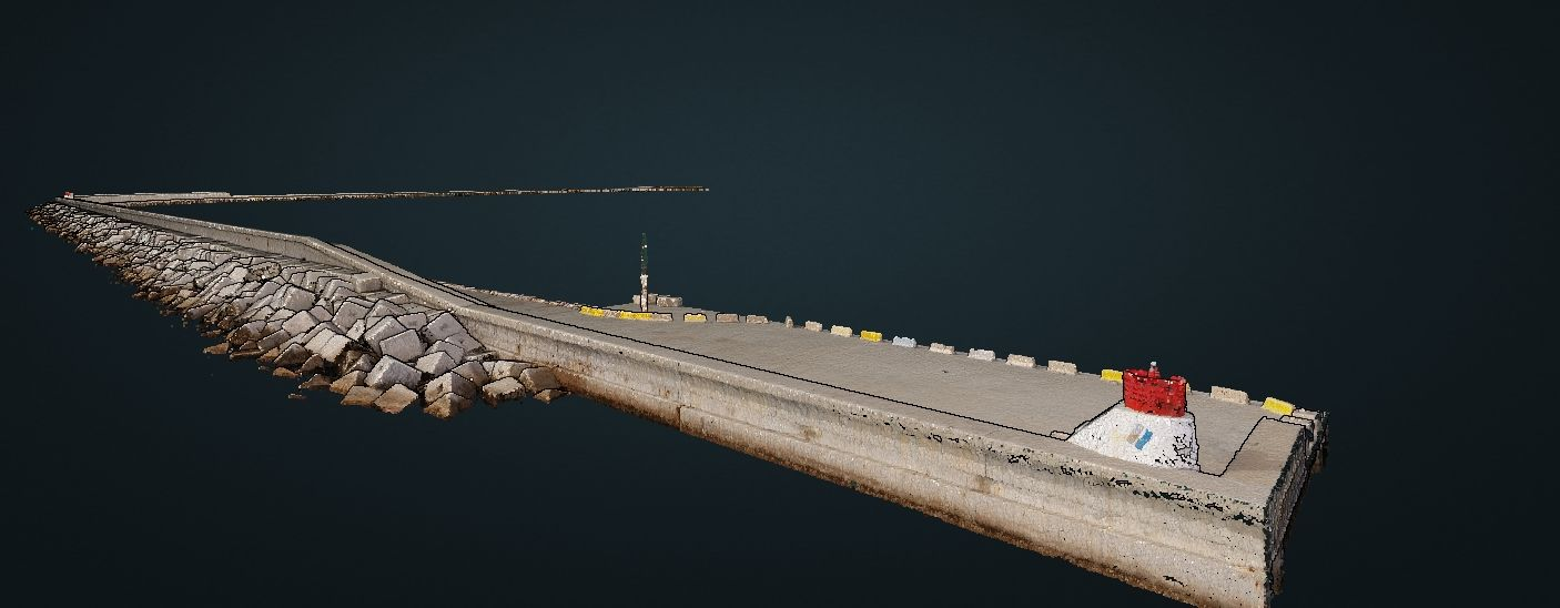 Example of a cloud of points obtained with LIDAR technology incorporated to a drone. (Port de Barcelona)