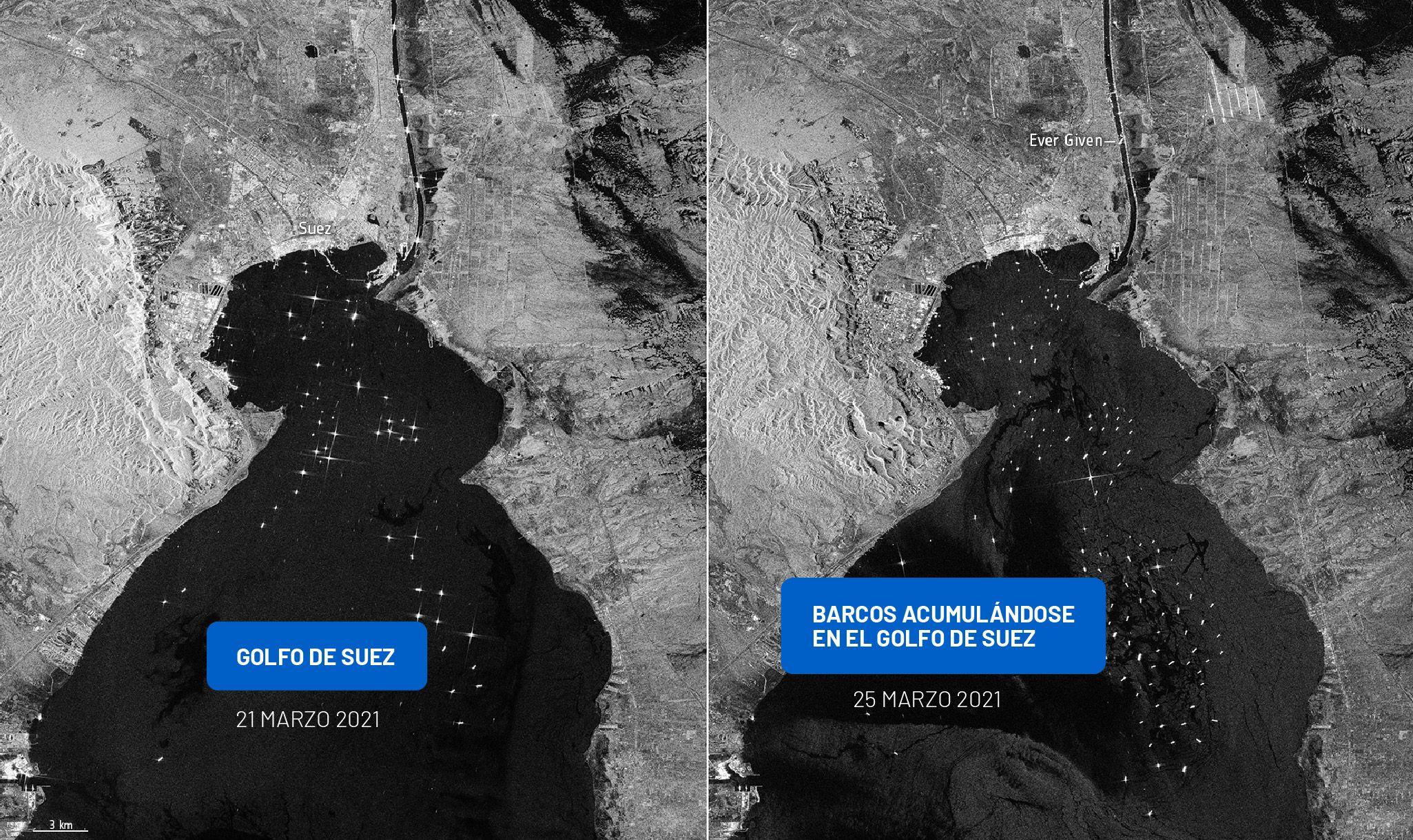 EL bloqueo del Canal de Suez duró seis días y ha afectado a más de 200 embarcaciones. (ESA)