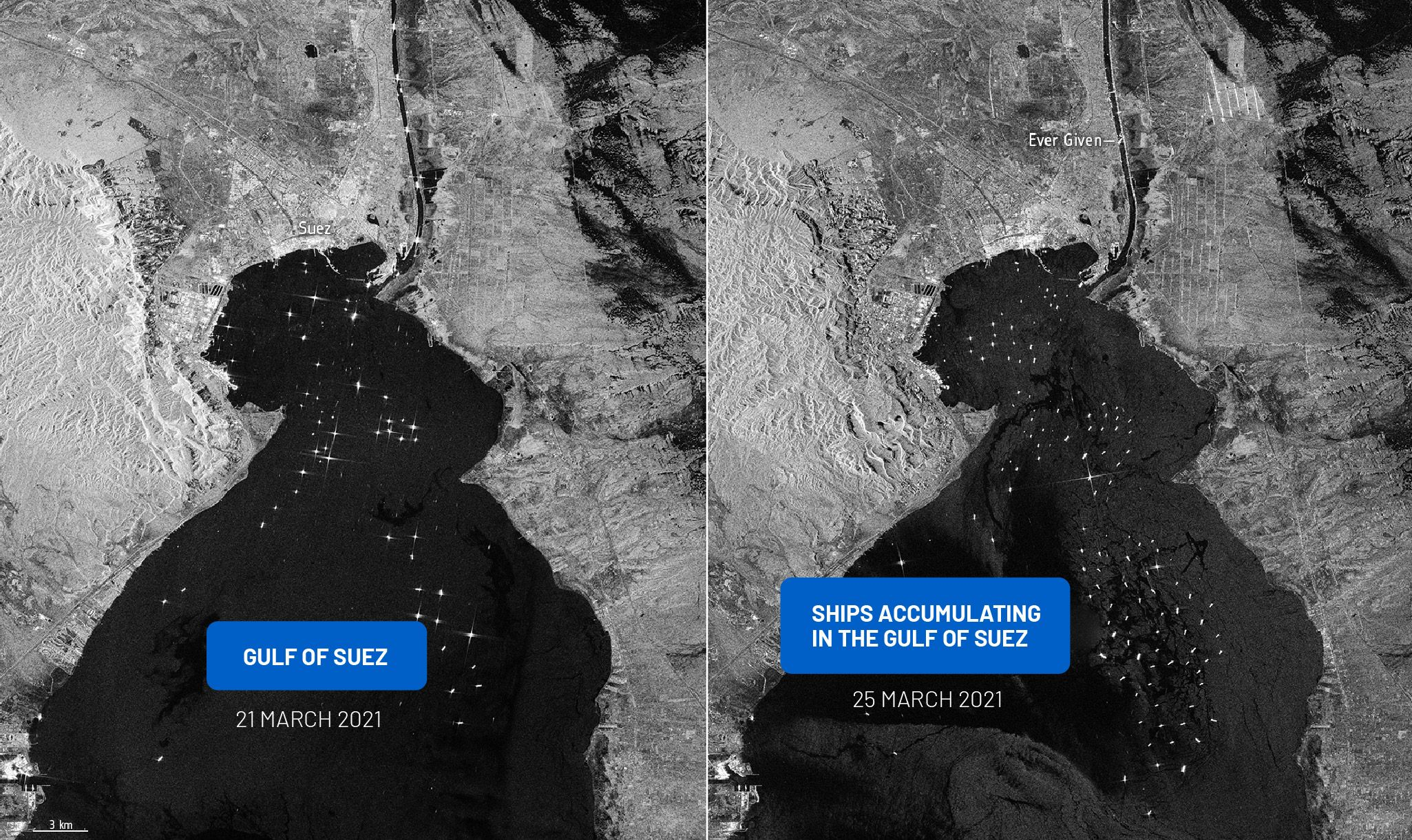 The Suez Canal blockade lasted six days and affected more than 200 vessels. (ESA)