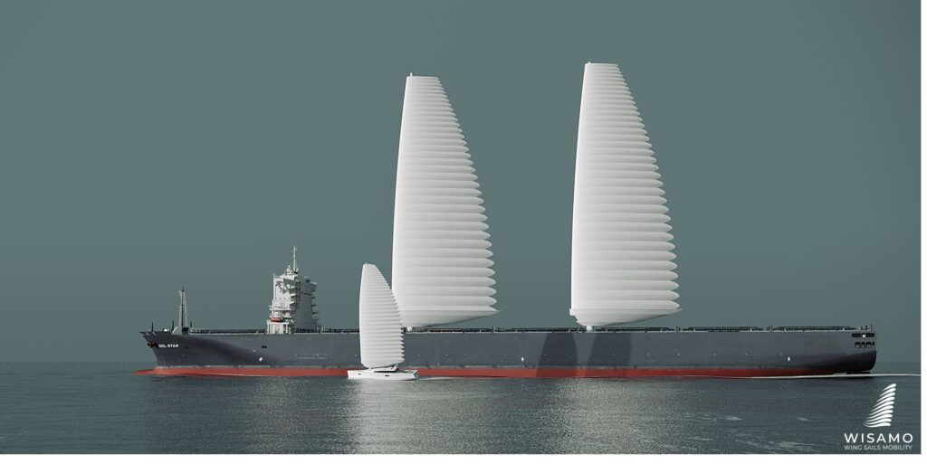 WISAMO es un sistema de velas automatizado, telescópico e inflable que se instalará por primera vez en un buque mercante en 2022. (Michelin)