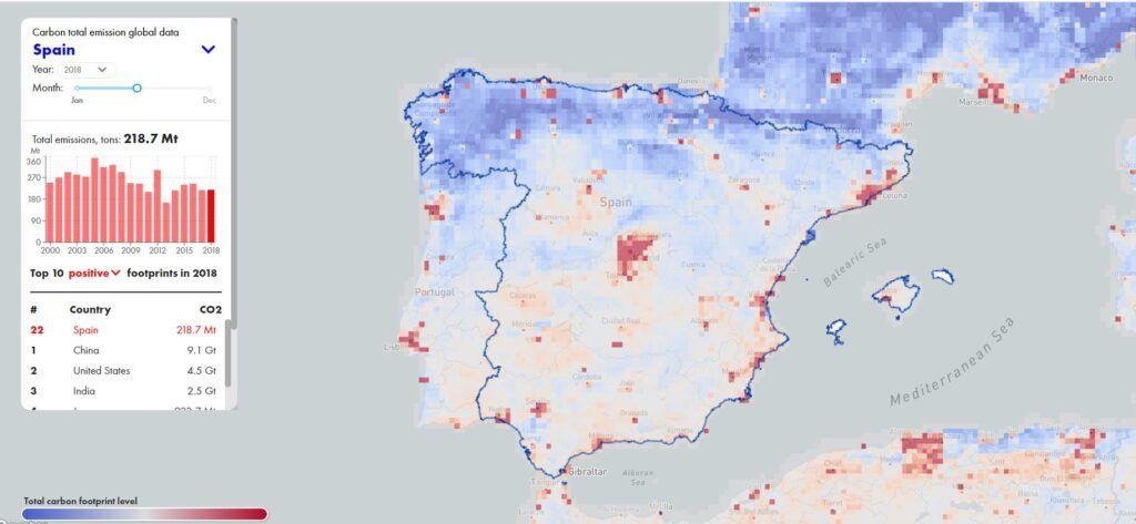 La plataforma de CarbonSpace estima la huella de carbono de diferentes áreas terrestres con datos satelitales. (CarbonSpace)